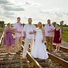 Emily Waggoner & Joe Koranek<br /> Wedding Day - Portrait<br /> Train Tracks - Schneider, Indiana