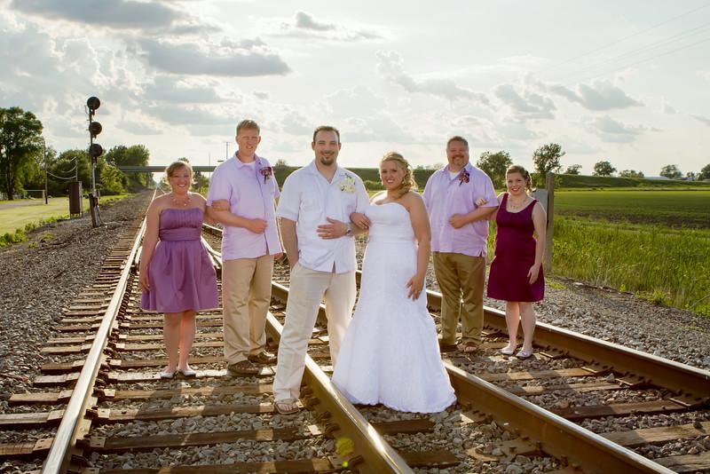 Emily Waggoner & Joe Koranek Wedding Day - Portrait Train Tracks - Schneider, Indiana