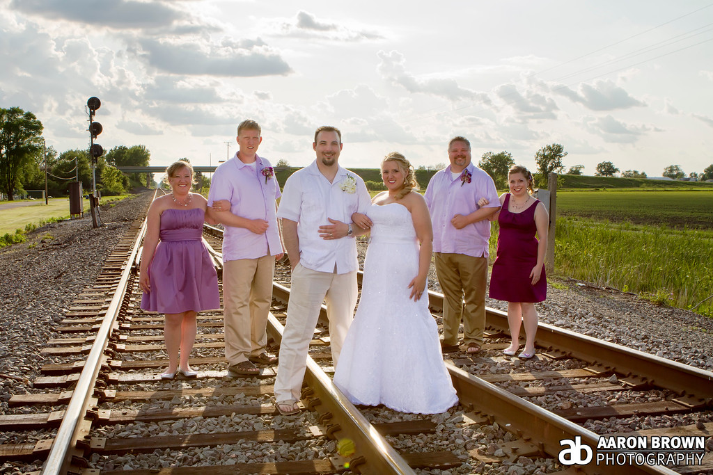 Emily Waggoner & Joe Koranek Wedding Day - Portrait Train Tracks - Schneider, Indiana