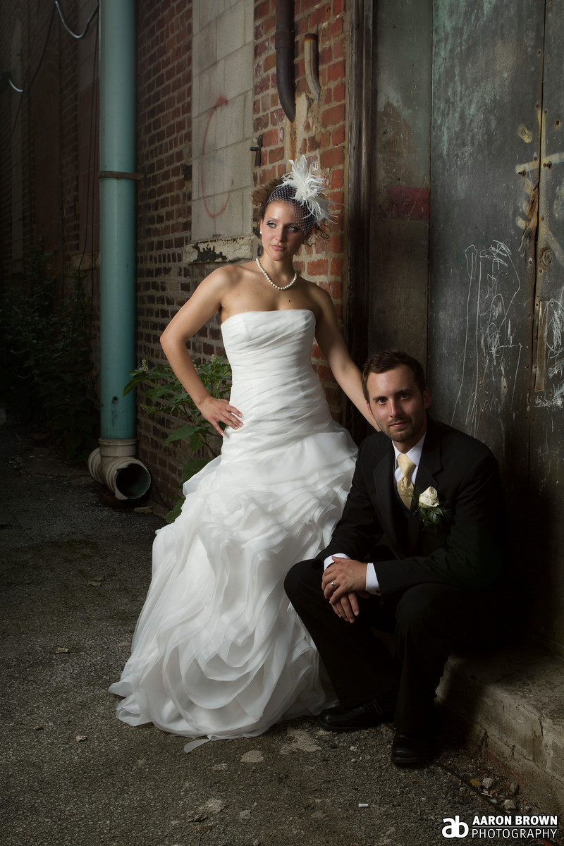 Allison Moore & Sam Henderson Wedding Day - Portrait The Square - Crown Point, Indiana