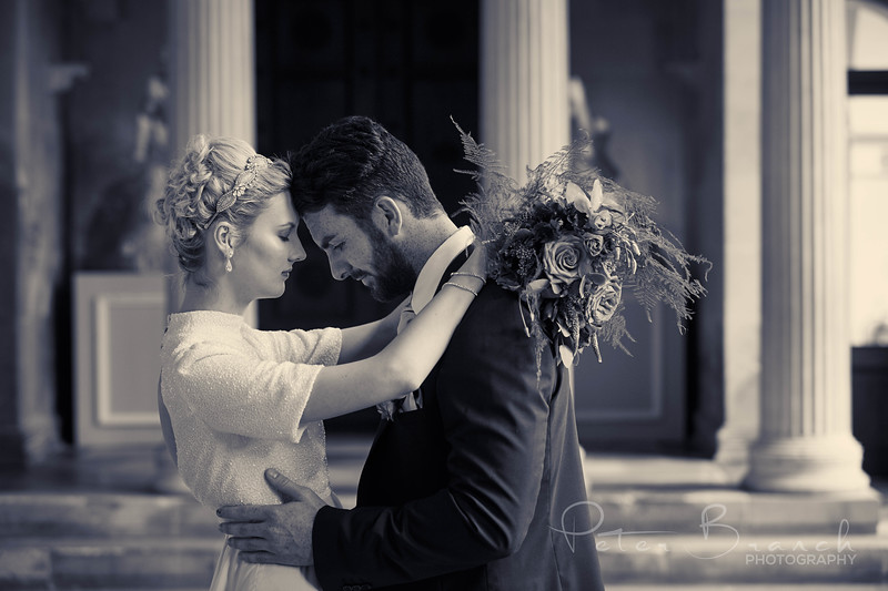 Bride & Groom with lowers