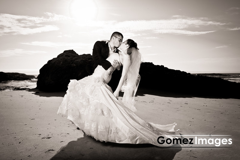 Juan and Luz Wedding kiss, Beach Wedding Photos