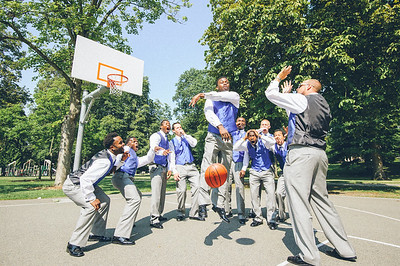 Groom basketball action