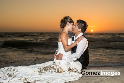 wedding day, Beach Wedding Photos in the Sunset trash the dress