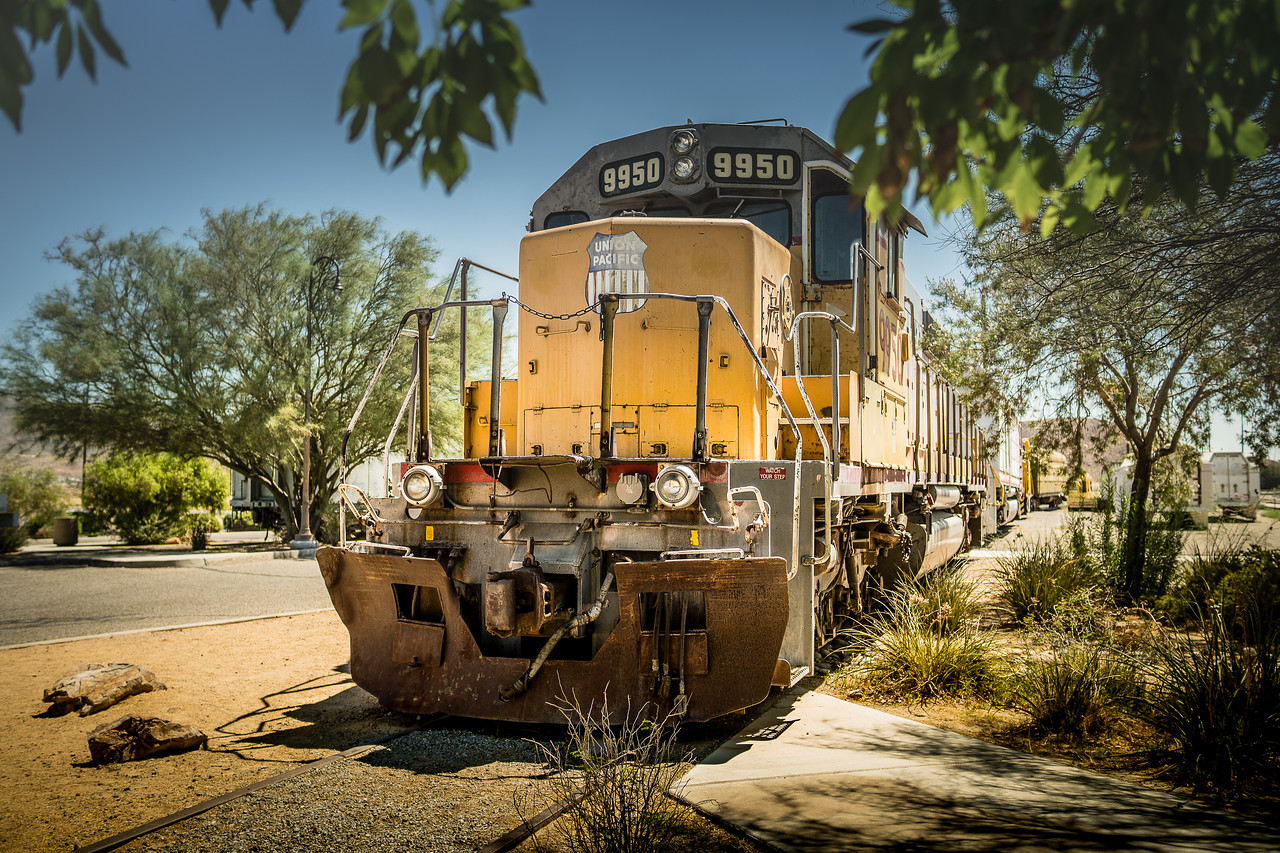 Union Pacific locomotive on a summer day outside the railroad museum