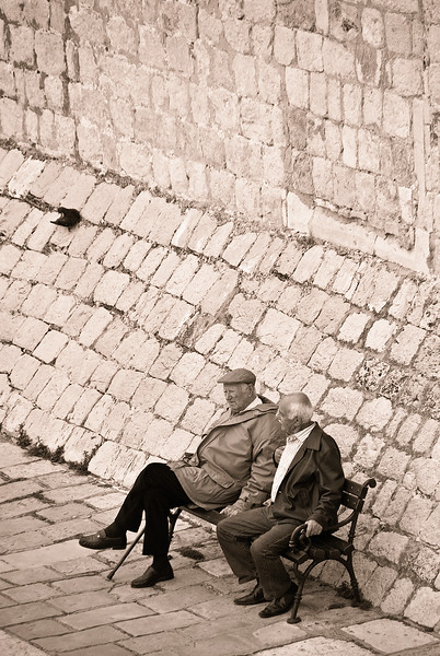 Relaxing by Dubrovnik city walls