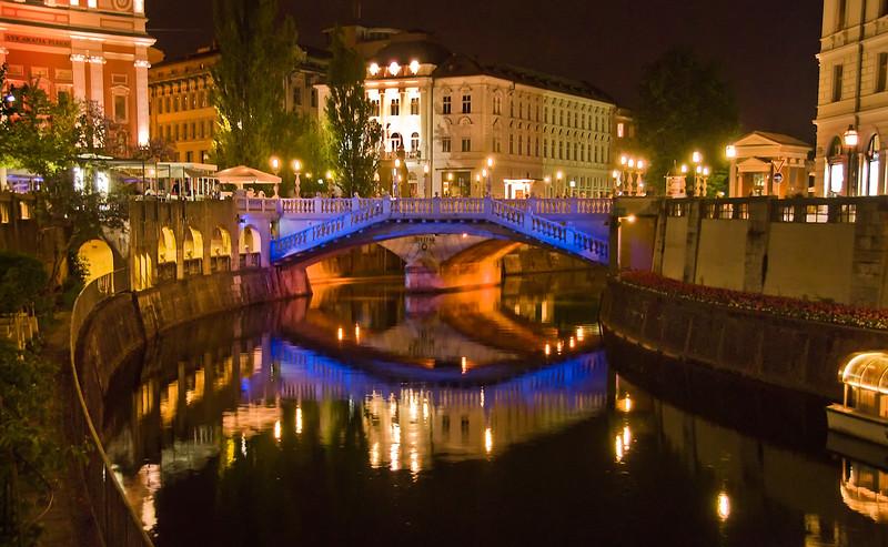 Ljubljana, Slovenia at  night