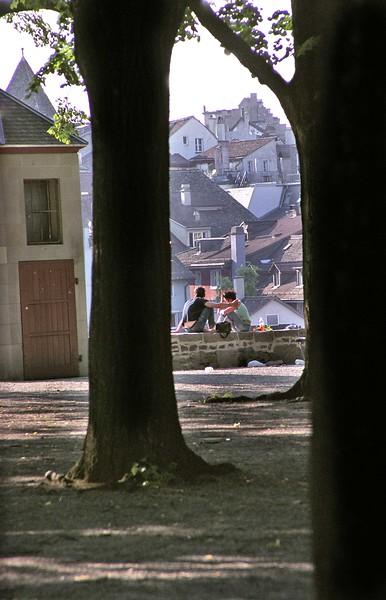Zurich, early morning scene in park in Old City