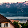 View from Lutry (Lausanne) of Lake Geneva and French Alps