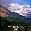 Wengen, moonrise over Jungfrau