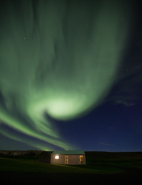Cabin in North Iceland with a Green Monster of Northern Lights