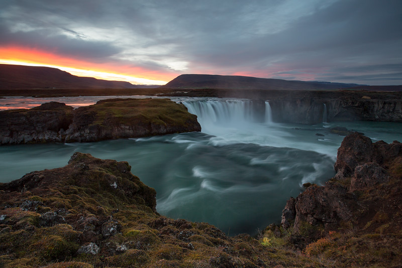 Godafoss Waterfall, Northeast Iceland at aunset