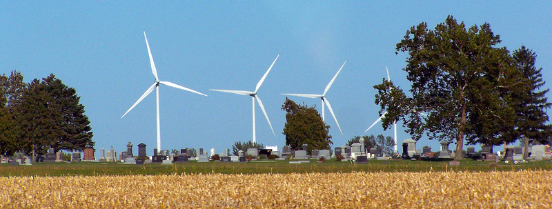 Wind Turbines By Cemetery