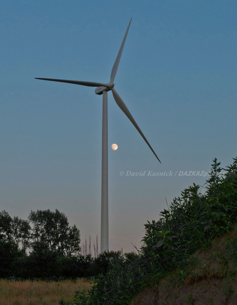 Wind Turbine At Dusk With Moon 3