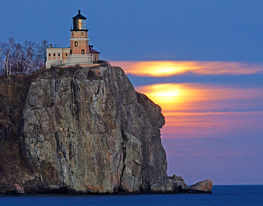 Moonrise Over Split Rock Lighthouse