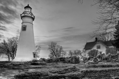 Marblehead Lighthouse and Lightkeeper House - B&W