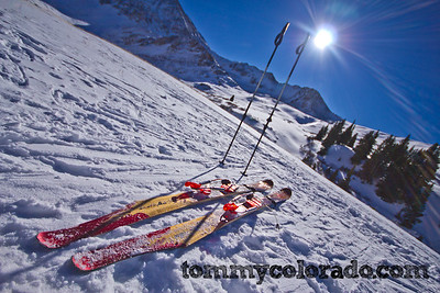 ScottyBob tele skis in Mayflower Gulch