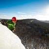 Matt Madalonie ice climbing at Shawbridge, Quebec, Laurentian mountains, Canada.