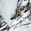 Matt Madalonie ice climbing at Piedmont, Quebec, Laurentian mountains, Canada.