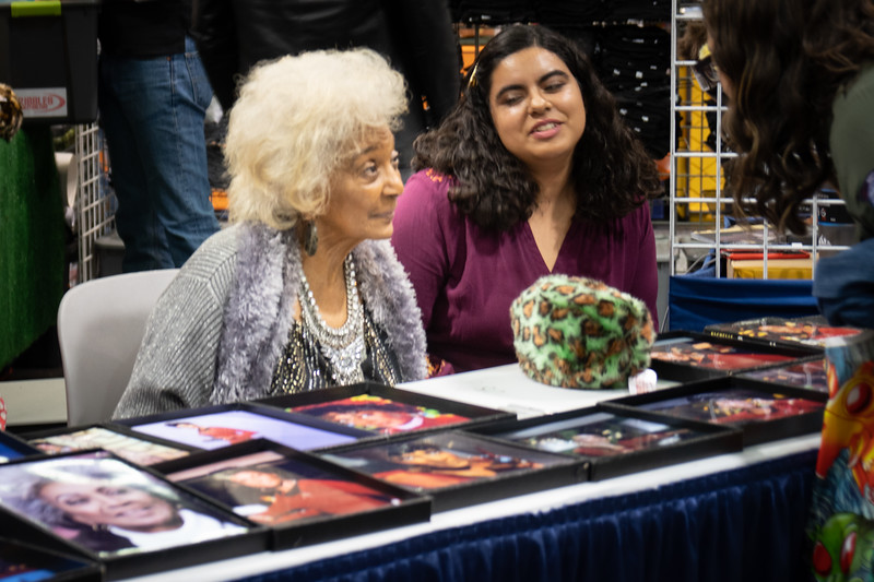 Nichelle Nichols at the Tribble Booth, WonderCon 2019