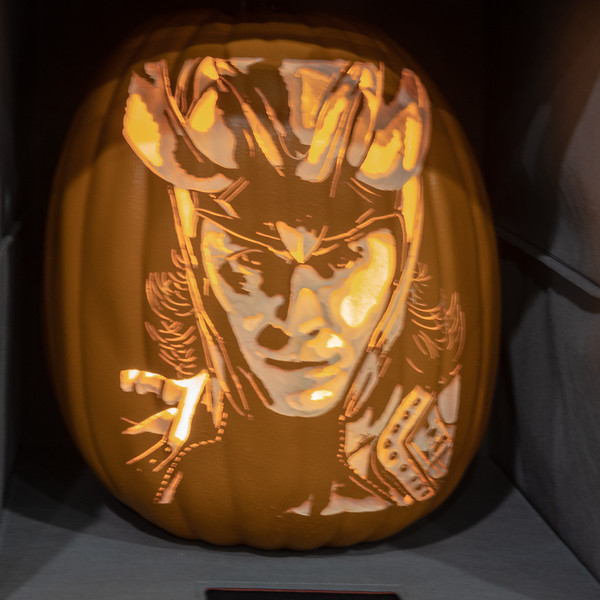 Loki, a custom-carved pumpkin by Alex Wer, the Pumpkin Geek