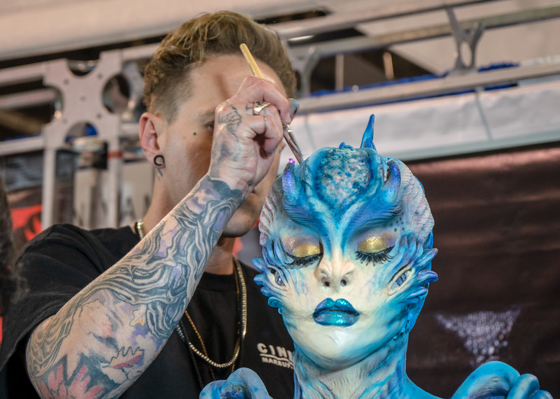 Cinema Makeup School had a booth at WonderCon 2019