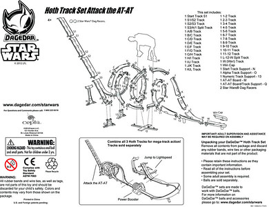 1 of 10 instructions/assembly sheets for Cepia Toys DAGEDAR Star Wars tracks