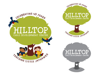 Scalable logo and illustration solution for Hilltop Child Development Center's 40th anniversary. Made for use on T-shirts, banners, print materials and event materials.