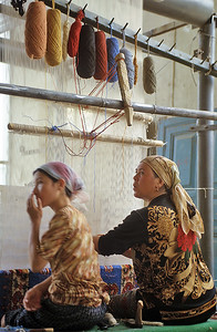 Carpet manufacturing, Hotan, Xinjiang, Silk Road