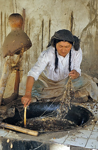 Silk processing, Hotan, Xinjiang, Silk Road