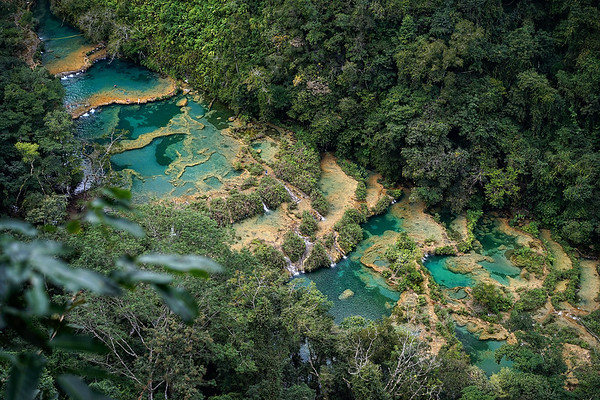 The stunning turquoise terraces at Semuc Champey, Guatemala