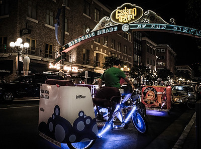 """Foot Taxi""  Pedicabs in downtown San Diego, California, in the Gaslamp Quarters."