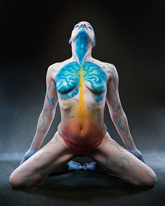 Throat Chakra - Bodypaint: Brenda Leach.  Model: Syren Lestat