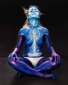 Throat Chakra - Bodypaint: Valerie Daft.  Hair: Jaymz Marez.   Model: Danielle