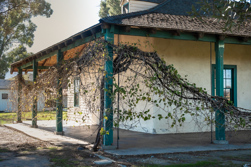 The Yorba-Slaughter adobe, with the general store in the background