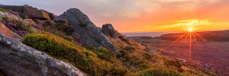 Panoramic at East Buck Stones at sunset