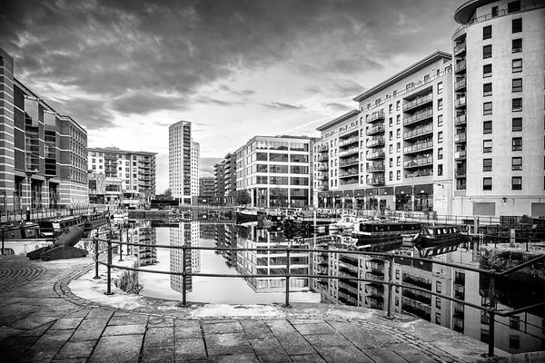 Leeds Dock in mono