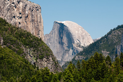 First look at Half Dome coming in on Highway 120.  That's El Capitan on the left.