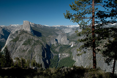 Nevada Falls, Vernal Falls, Half Dome and the Yosemite backcountry from Glacier Point