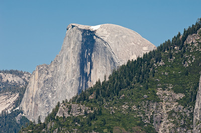 Half Dome up close.  Mid-June and still no hikers to Half Dome because the cables aren't up yet due to snow.