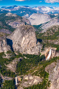 Vernal Falls (lower left) and Nevada Falls (right) from Washburn Point
