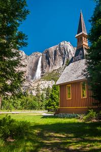 Upper Yosemite Falls and Yosemite Chapel