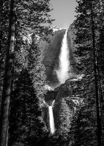 Upper and Lower Yosemite Falls B&W