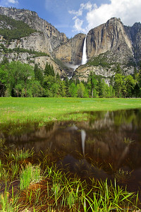 """Yosemite Falls in Spring"" Location: Yosemite National Park, California.  Spring in Yosemite is beautiful. The waterfalls are at their peak flow, greenary is all around, temperatures are very comfortable and little ponds in the meadows add to the scenary.  Tech Info: Lens: Canon EF 17-40mm f/4L @ 23mm Camera: Canon EOS 5D Mk II Exposure: 2sec at f/16 and ISO 50 Filters: Hoya 8 stop solid ND filter to allow 2sec exposure. LEE 0.9 (3-stop) soft edge ND Grad filter to balance exposure of the sky with foreground.  Yosemite is the arguably the most beautiful national park. It's grandeur and the time scale it took to evolve is very humbling. I learnt that the granite peaks started out as molten magma deep below the earth's surface about 100 million years ago. Merced river then carved it into a ""V"" shaped valley and finally glaciers shaped it into its present day ""U"" shape. The beauty of the valley has inspired many. It's lush forests, tall granite peaks, amazing monoliths and beautiful waterfalls are so pristine that a visit to the park often overwhelms the senses. A visit here at least once in lifetime is a must."