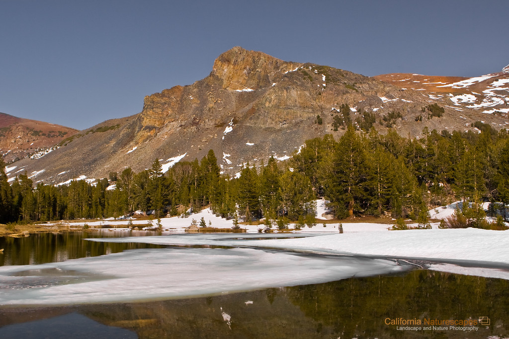 """Yosemite Spring"" Location: Tioga Pass, Yosemite, California.  Tioga Pass is one of the high altitude roads through Yosemite and is closed for most part of the year due to snow. During spring there is small window in which the road is open and the surrounding area is covered in snow. Back in 2007 I was lucky to be able to visit this place during this narrow window in time. The melting of the snow creates small pools of water like this one which quickly dry out when the summer kicks in.  Tech Info: Lens: Canon EF 24mm f/2.8 @ 24mm Camera: Canon EOS 30D Exposure: 1/80sec at f/9 and ISO 100 Filters: No filters <br><br>Yosemite is the arguably the most beautiful national park. It's grandeur and the time scale it took to evolve is very humbling. I learnt that the granite peaks started out as molten magma deep below the earth's surface about 100 million years ago. Merced river then carved it into a ""V"" shaped valley and finally glaciers shaped it into its present day ""U"" shape. The beauty of the valley has inspired many. It's lush forests, tall granite peaks, amazing monoliths and beautiful waterfalls are so pristine that a visit to the park often overwhelms the senses. A visit here at least once in lifetime is a must."