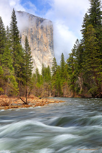 """Majestic El Cap and Mighty Merced (Portrait Version)"" Location: Yosemite National Park, California.  The grandeur of Yosemite valley is best seen from spots that are hidden away along the curves of Merced river. The view is particularly appealing when major landmarks in the valley, such as El Capitan in this case, can also be seen. It was not just the view but also the photographic process that I enjoyed at this location. It was dull gray and raining when I arrived at this spot. Then it started clearing and El Cap appeared out of fog in it's full glory.  This is a scene in the valley during spring season when when the Merced river is at it's peak flow and there is a good chance to see fog and clouds shrouding the granite peaks. In this particular image I also liked spots of penetrating light on the pine trees. As the storm was clearing in the sky, pockets of openings were creating interesting displays of light. I made several images but likes this one very much.  Tech Info: Lens: Canon EF 24-70mm f/2.8 L @ 45mm Camera: Canon EOS 5D Mk II Exposure: 1/4sec at f/14 and ISO 50 Filters: LEE 0.6 (2-stop) and 0.9 (3-stop) soft edge ND Graduated filters   Yosemite is the arguably the most beautiful national park. It's grandeur and the time scale it took to evolve is very humbling. I learnt that the granite peaks started out as molten magma deep below the earth's surface about 100 million years ago. Merced river then carved it into a ""V"" shaped valley and finally glaciers shaped it into its present day ""U"" shape. The beauty of the valley has inspired many. It's lush forests, tall granite peaks, amazing monoliths and beautiful waterfalls are so pristine that a visit to the park often overwhelms the senses. A visit here at least once in lifetime is a must."