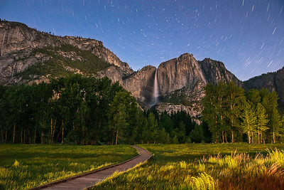 This was taken before moonrise. Was exposed for longer duration. The sky has less deep color, everything uniformly illuminated vs the picture in which yosemite fall stands out as moon lights it up.