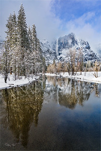 Winter Mirror, Yosemite Fall, Yosemite