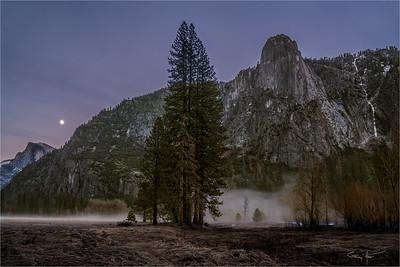 Nightfall, Moonrise above Half Dome, Yosemite