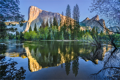 Morning Reflection, El Capitan and the Three Brothers, Yosemite